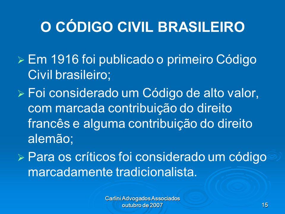 Carlini Advogados Associados outubro de 200715 O CÓDIGO CIVIL BRASILEIRO Em 1916 foi publicado o primeiro Código Civil brasileiro; Foi considerado um