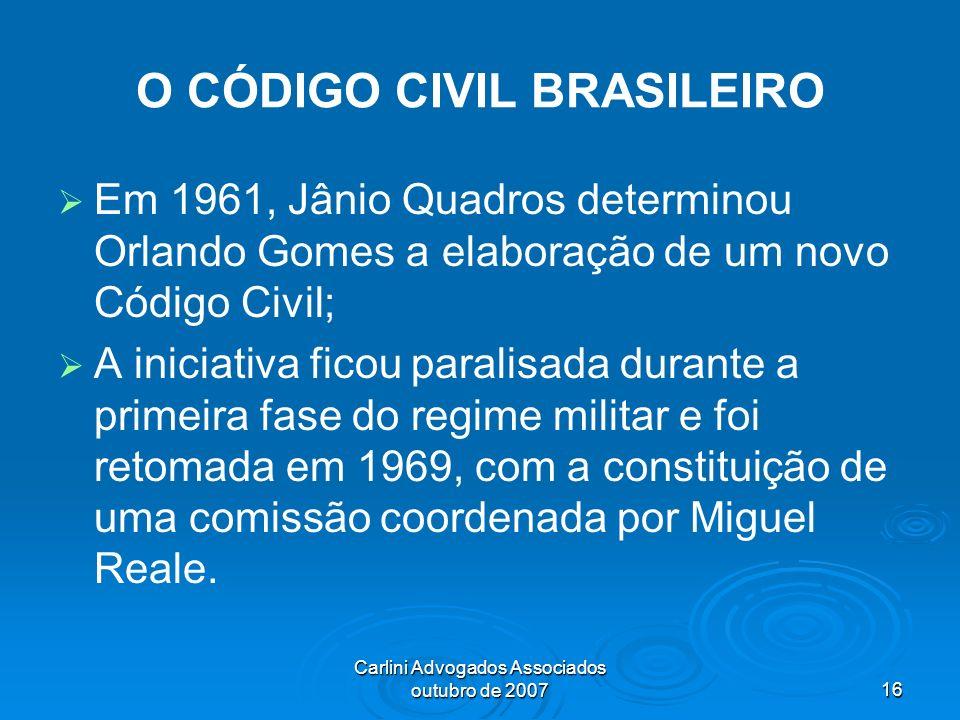 Carlini Advogados Associados outubro de 200716 O CÓDIGO CIVIL BRASILEIRO Em 1961, Jânio Quadros determinou Orlando Gomes a elaboração de um novo Códig
