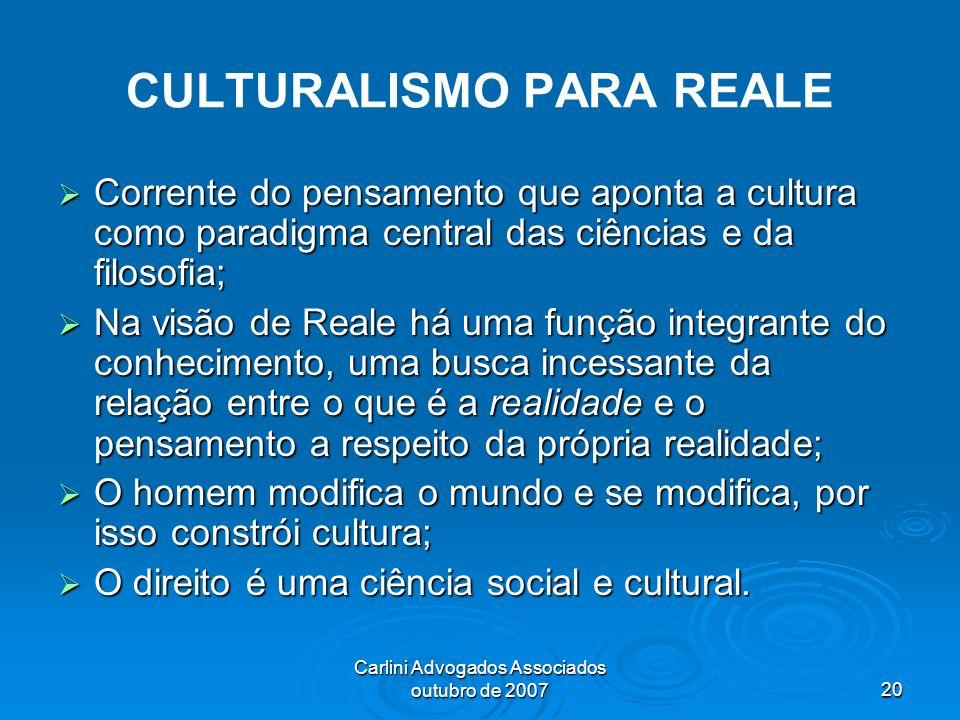Carlini Advogados Associados outubro de 200720 CULTURALISMO PARA REALE Corrente do pensamento que aponta a cultura como paradigma central das ciências