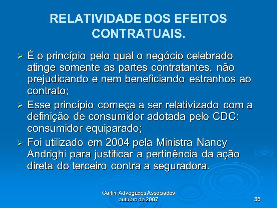 Carlini Advogados Associados outubro de 200735 RELATIVIDADE DOS EFEITOS CONTRATUAIS. É o princípio pelo qual o negócio celebrado atinge somente as par