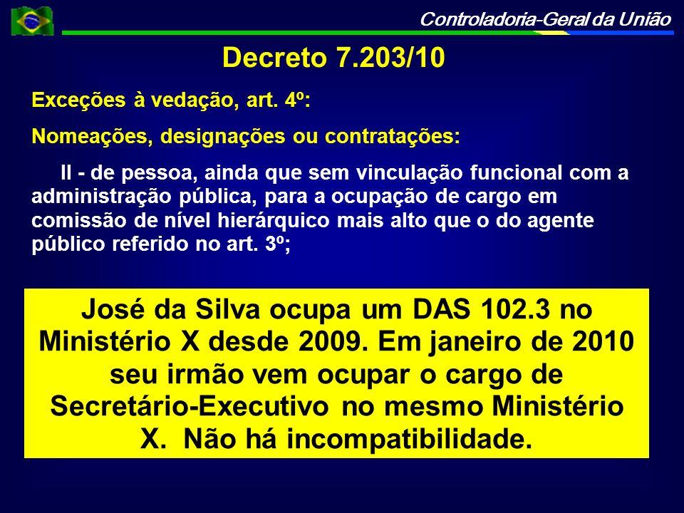 Controladoria-Geral da União Decreto 7.203/10 Exceções à vedação, art. 4º: Nomeações, designações ou contratações: II - de pessoa, ainda que sem vincu