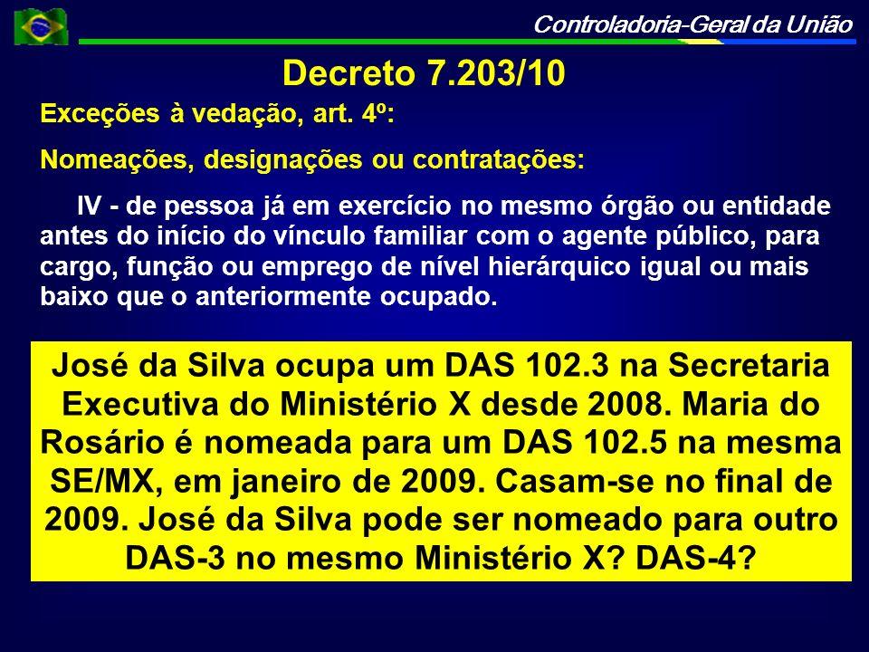 Controladoria-Geral da União Decreto 7.203/10 Exceções à vedação, art. 4º: Nomeações, designações ou contratações: IV - de pessoa já em exercício no m