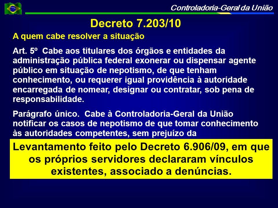 Controladoria-Geral da União Decreto 7.203/10 A quem cabe resolver a situação Art. 5º Cabe aos titulares dos órgãos e entidades da administração públi