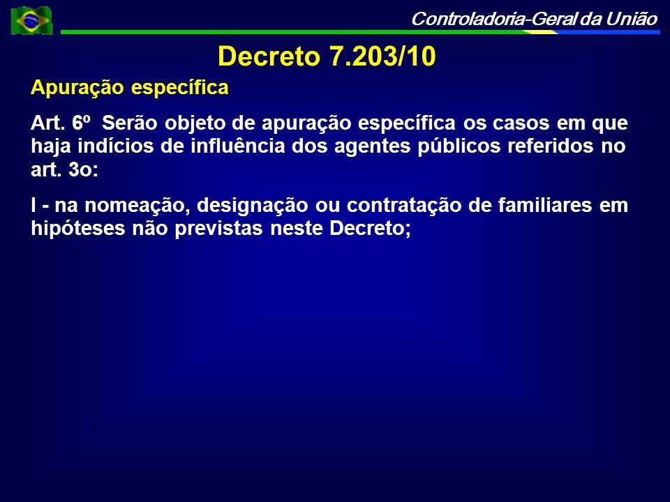 Controladoria-Geral da União Decreto 7.203/10 Apuração específica Art. 6º Serão objeto de apuração específica os casos em que haja indícios de influên