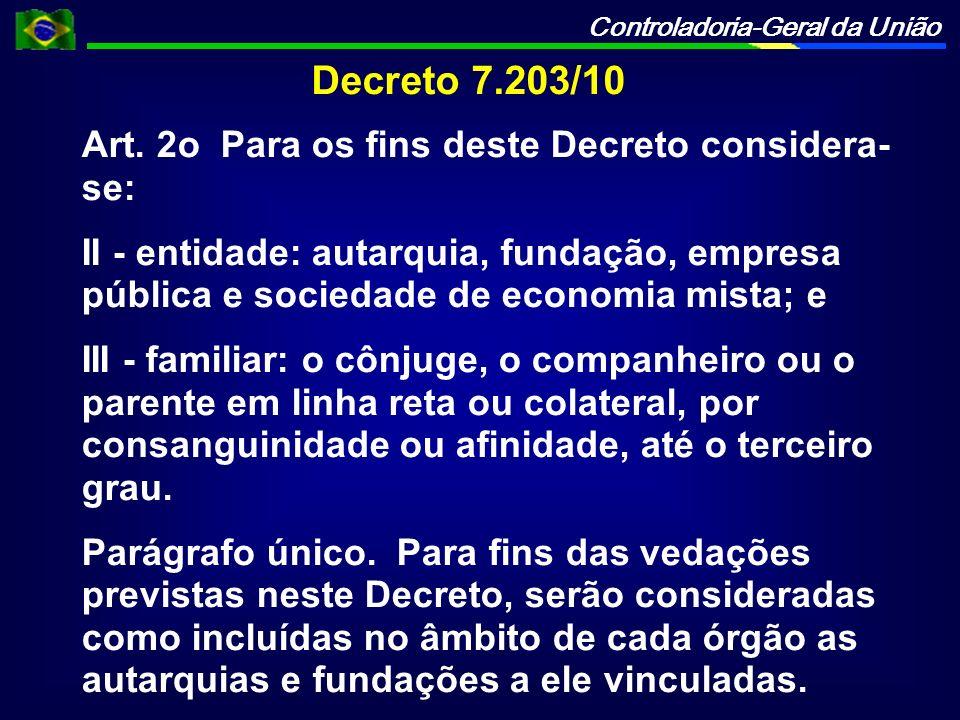 Controladoria-Geral da União Decreto 7.203/10 Art. 2o Para os fins deste Decreto considera- se: II - entidade: autarquia, fundação, empresa pública e