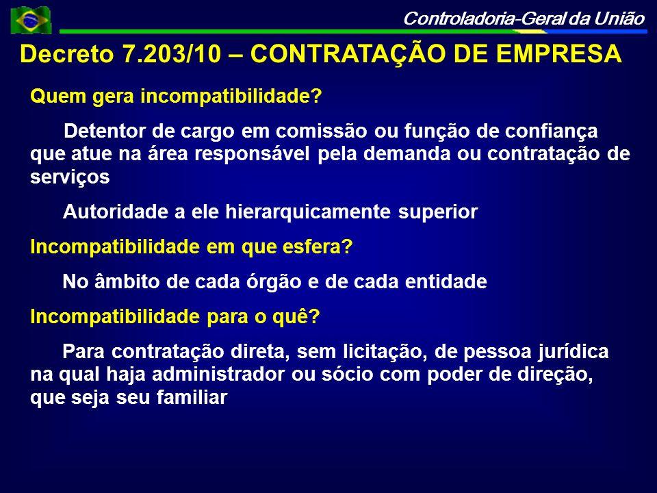 Controladoria-Geral da União Decreto 7.203/10 – CONTRATAÇÃO DE EMPRESA Quem gera incompatibilidade? Detentor de cargo em comissão ou função de confian