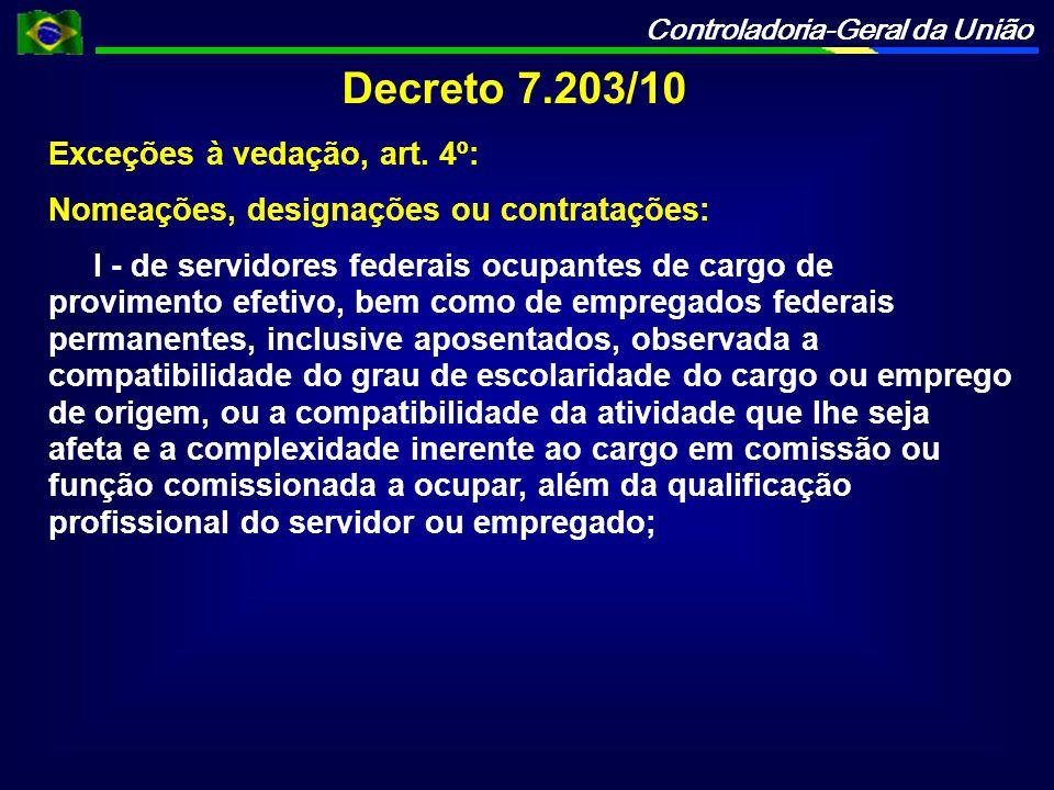 Controladoria-Geral da União Decreto 7.203/10 Exceções à vedação, art. 4º: Nomeações, designações ou contratações: I - de servidores federais ocupante