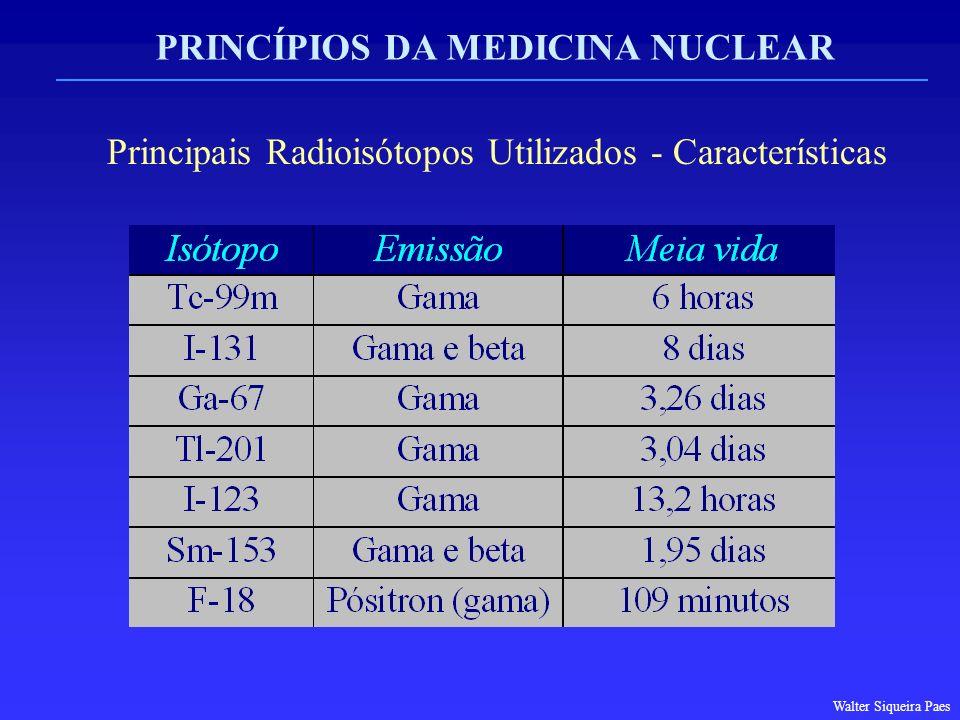 PRINCÍPIOS DA MEDICINA NUCLEAR Principais Radioisótopos Utilizados - Características Walter Siqueira Paes
