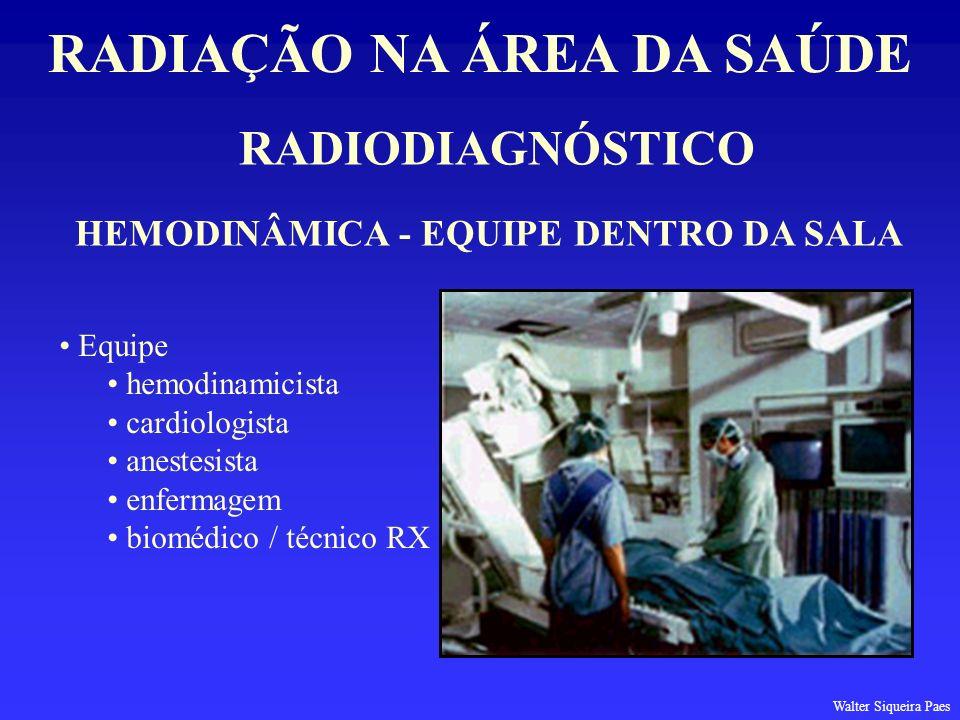 RADIODIAGNÓSTICO RADIAÇÃO NA ÁREA DA SAÚDE HEMODINÂMICA - EQUIPE DENTRO DA SALA Equipe hemodinamicista cardiologista anestesista enfermagem biomédico