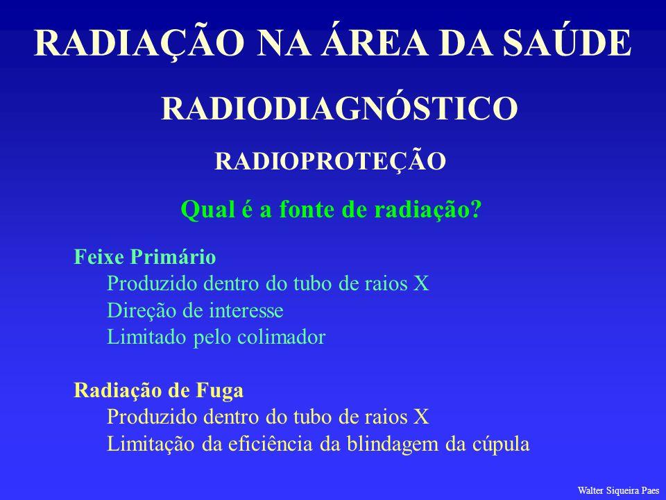 RADIODIAGNÓSTICO RADIAÇÃO NA ÁREA DA SAÚDE RADIOPROTEÇÃO Qual é a fonte de radiação? Feixe Primário Produzido dentro do tubo de raios X Direção de int
