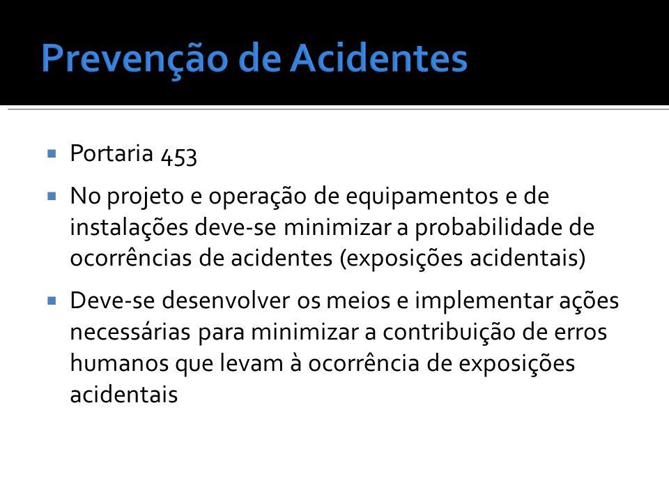Portaria 453 No projeto e operação de equipamentos e de instalações deve-se minimizar a probabilidade de ocorrências de acidentes (exposições acidenta