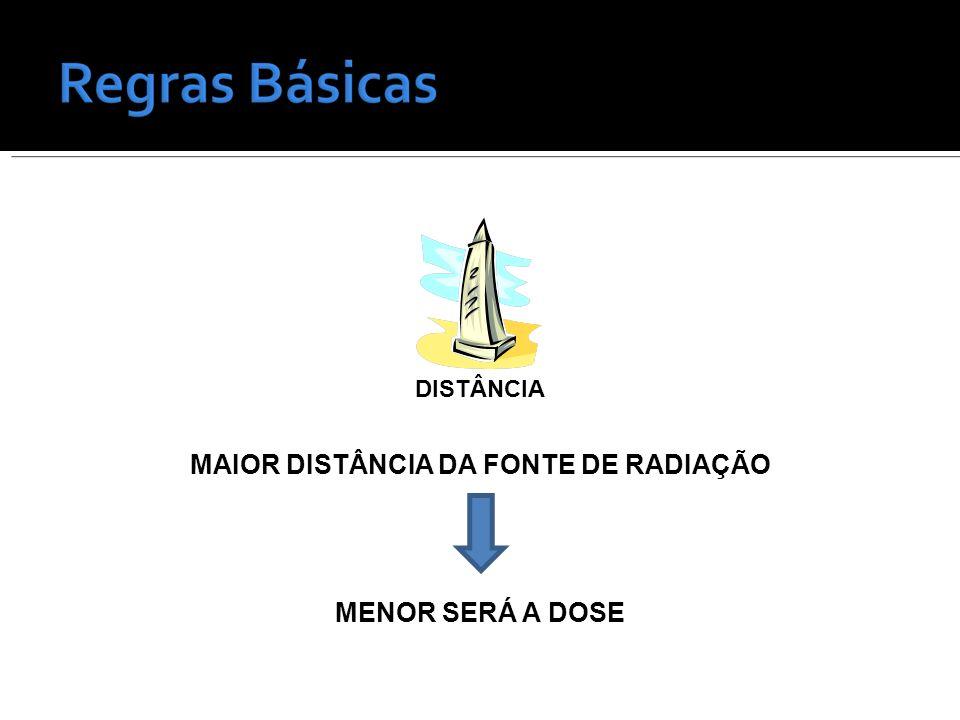 DISTÂNCIA MAIOR DISTÂNCIA DA FONTE DE RADIAÇÃO MENOR SERÁ A DOSE