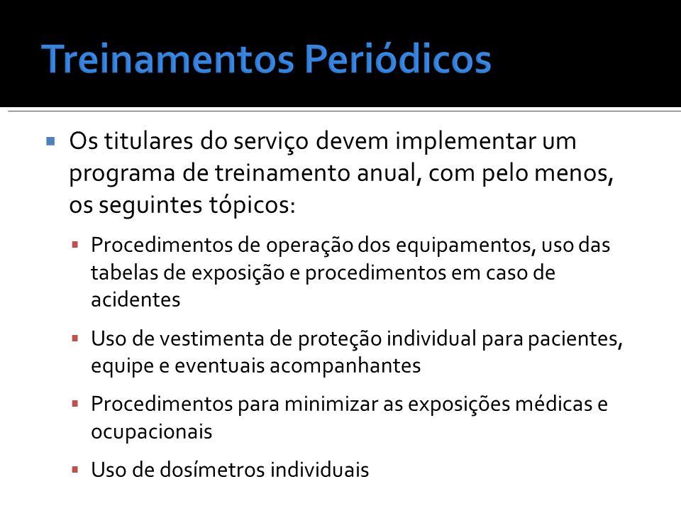 Os titulares do serviço devem implementar um programa de treinamento anual, com pelo menos, os seguintes tópicos: Procedimentos de operação dos equipa