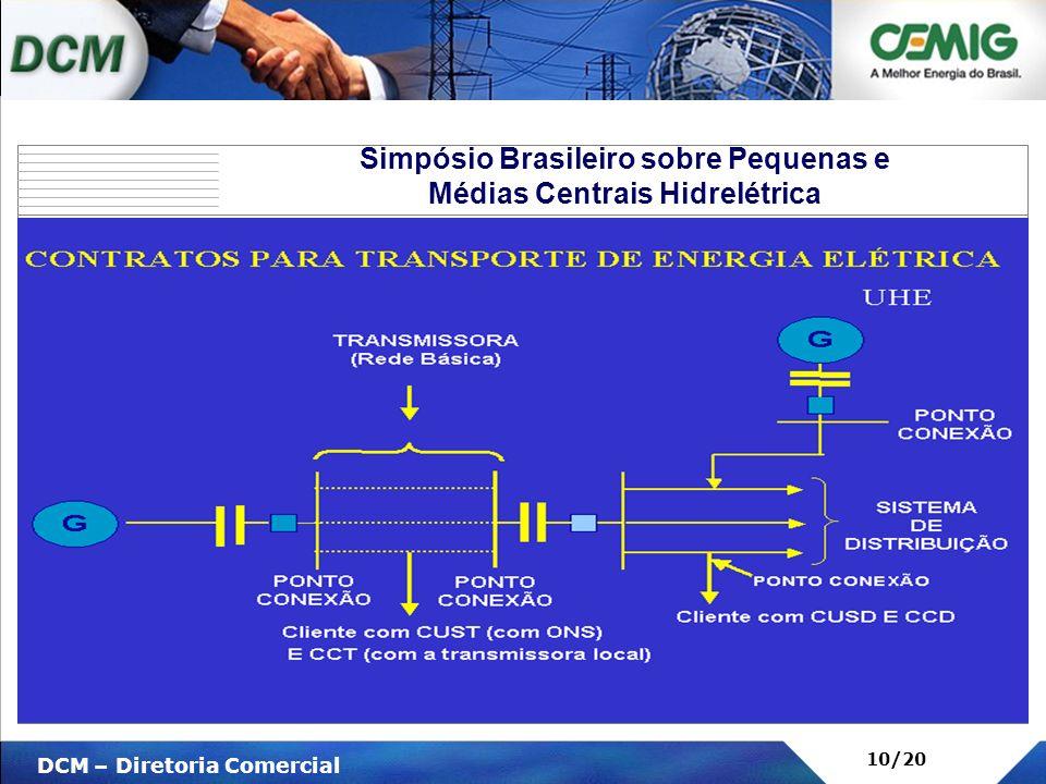 V DCM – Diretoria Comercial 10/20 Simpósio Brasileiro sobre Pequenas e Médias Centrais Hidrelétrica Cliente com CUST (com ONS) E CCT (com a transmisso