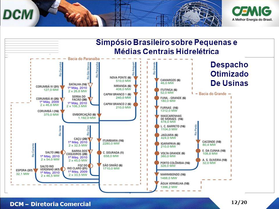 V DCM – Diretoria Comercial 12/20 Simpósio Brasileiro sobre Pequenas e Médias Centrais Hidrelétrica Despacho Otimizado De Usinas