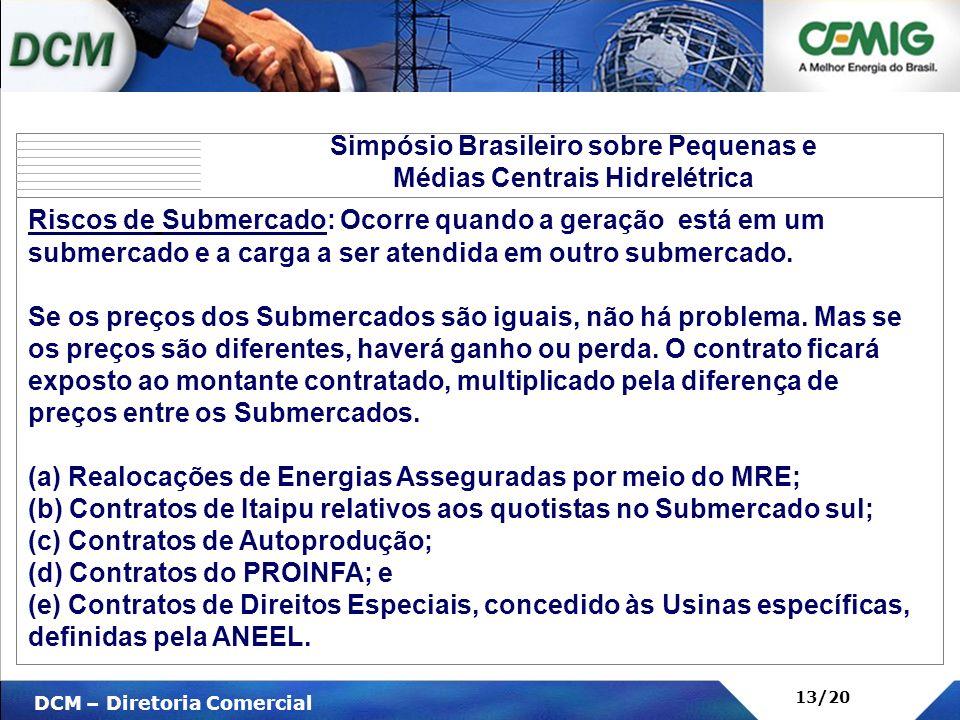 V DCM – Diretoria Comercial 13/20 Simpósio Brasileiro sobre Pequenas e Médias Centrais Hidrelétrica Riscos de Submercado: Ocorre quando a geração está