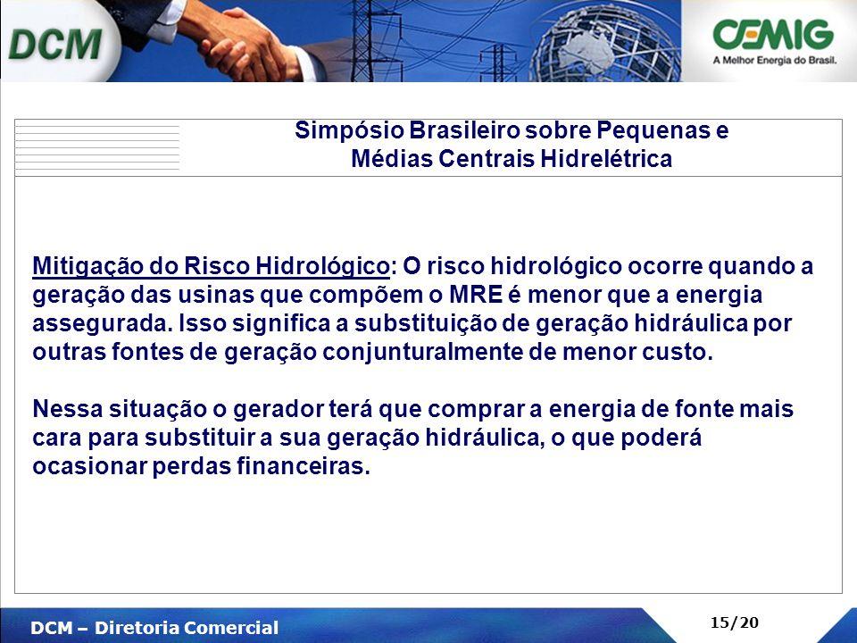 V DCM – Diretoria Comercial 15/20 Mitigação do Risco Hidrológico: O risco hidrológico ocorre quando a geração das usinas que compõem o MRE é menor que