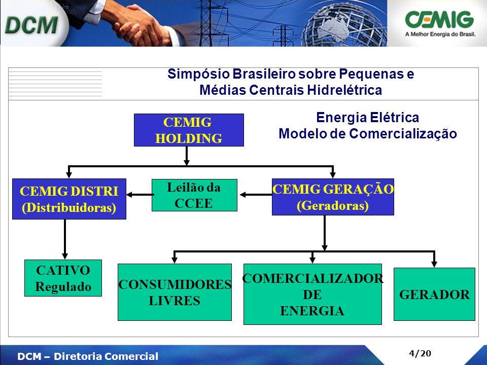 V DCM – Diretoria Comercial 4/20 CEMIG HOLDING CEMIG DISTRI (Distribuidoras) Leilão da CCEE CATIVO Regulado CEMIG GERAÇÃO (Geradoras) CONSUMIDORES LIV