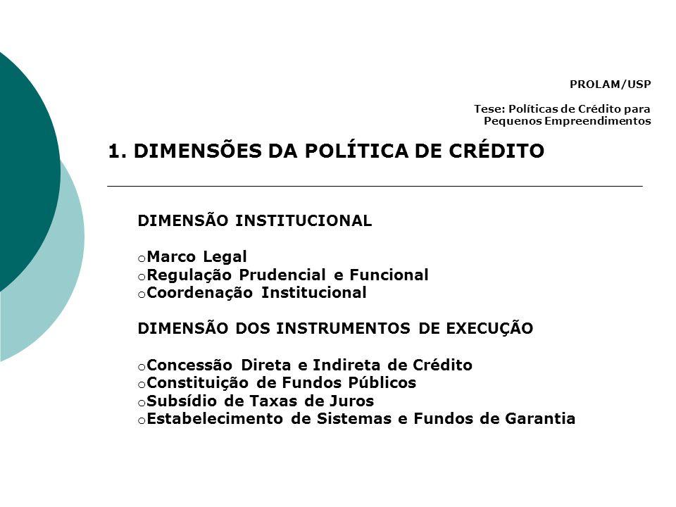 PROLAM/USP Tese: Políticas de Crédito para Pequenos Empreendimentos 1. DIMENSÕES DA POLÍTICA DE CRÉDITO DIMENSÃO INSTITUCIONAL o Marco Legal o Regulaç