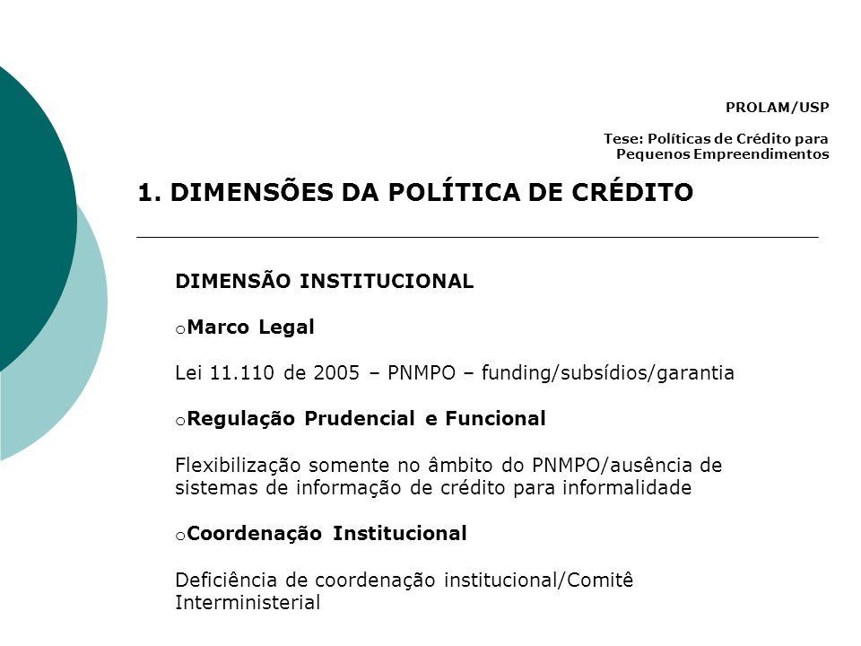 PROLAM/USP Tese: Políticas de Crédito para Pequenos Empreendimentos 1. DIMENSÕES DA POLÍTICA DE CRÉDITO DIMENSÃO INSTITUCIONAL o Marco Legal Lei 11.11