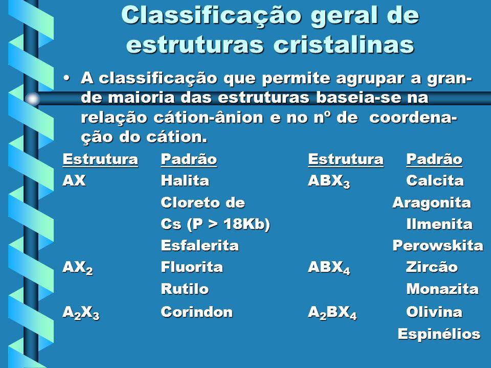 Classificação geral de estruturas cristalinas A classificação que permite agrupar a gran- de maioria das estruturas baseia-se na relação cátion-ânion