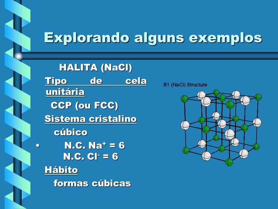 Explorando alguns exemplos HALITA (NaCl) HALITA (NaCl) Tipo de cela unitária Tipo de cela unitária CCP (ou FCC) CCP (ou FCC) Sistema cristalino Sistem