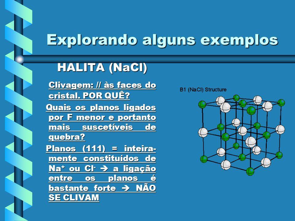 Explorando alguns exemplos HALITA (NaCl) HALITA (NaCl) Clivagem: // às faces do cristal. POR QUÊ? Clivagem: // às faces do cristal. POR QUÊ? Quais os
