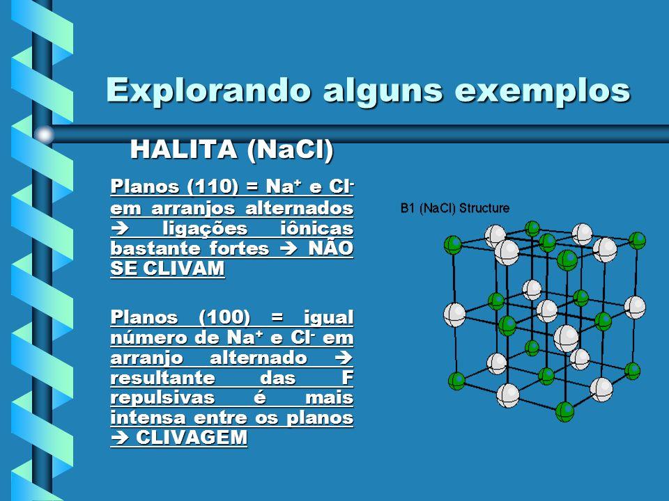Explorando alguns exemplos HALITA (NaCl) HALITA (NaCl) Planos (110) = Na + e Cl - em arranjos alternados ligações iônicas bastante fortes NÃO SE CLIVA
