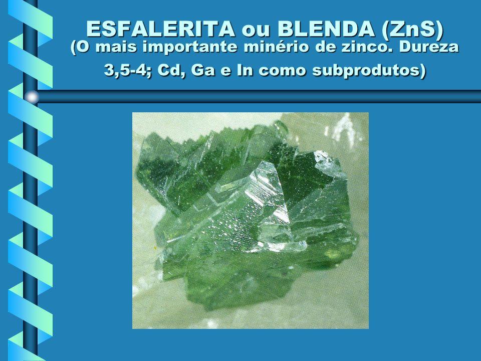 ESFALERITA ou BLENDA (ZnS) (O mais importante minério de zinco. Dureza 3,5-4; Cd, Ga e In como subprodutos)