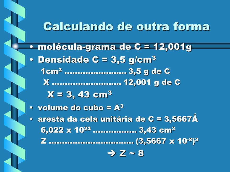 Calculando de outra forma molécula-grama de C = 12,001gmolécula-grama de C = 12,001g Densidade C = 3,5 g/cm 3Densidade C = 3,5 g/cm 3 1cm 3...........