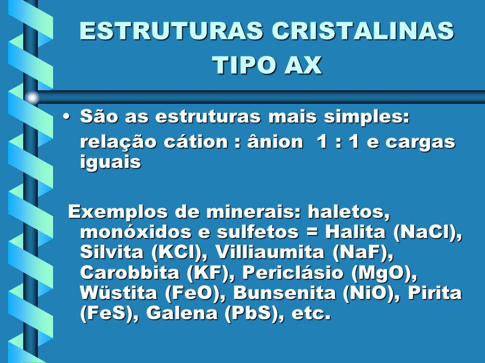 ESTRUTURAS CRISTALINAS TIPO AX São as estruturas mais simples:São as estruturas mais simples: relação cátion : ânion 1 : 1 e cargas iguais Exemplos de