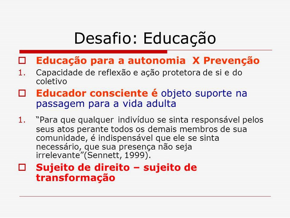 Desafio: Educação Educação para a autonomia X Prevenção 1.Capacidade de reflexão e ação protetora de si e do coletivo Educador consciente é objeto sup
