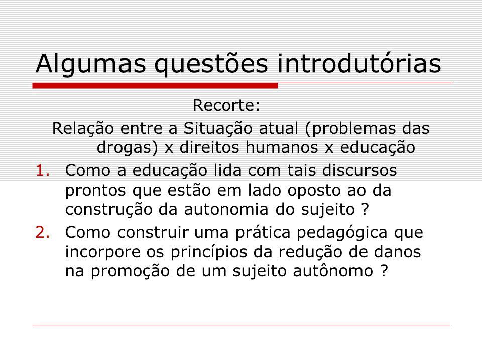Algumas questões introdutórias Recorte: Relação entre a Situação atual (problemas das drogas) x direitos humanos x educação 1.Como a educação lida com