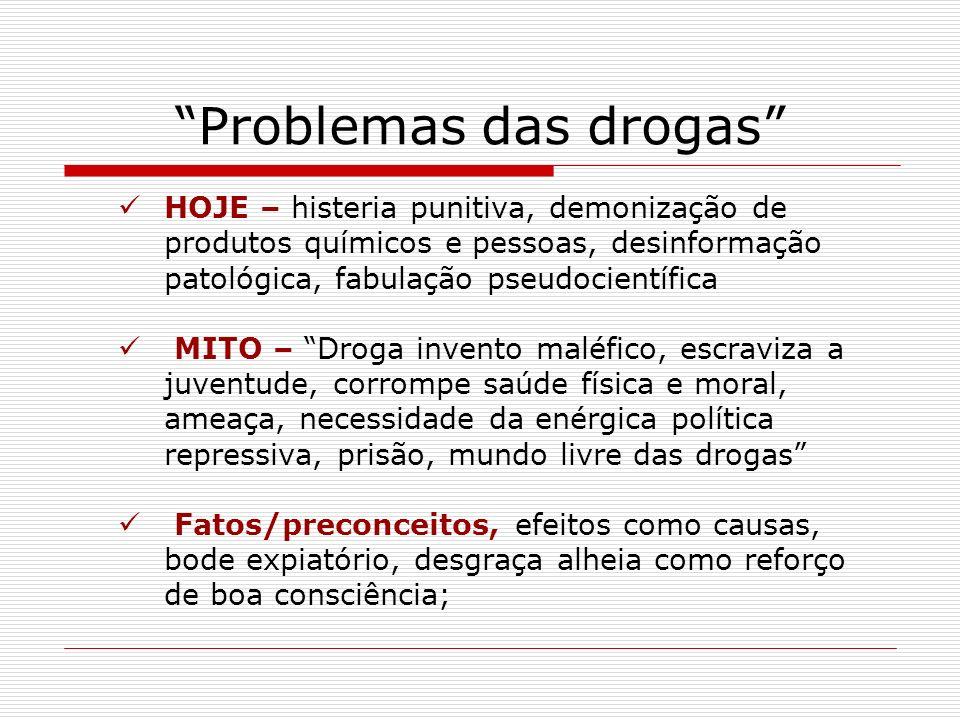 Problemas das drogas HOJE – histeria punitiva, demonização de produtos químicos e pessoas, desinformação patológica, fabulação pseudocientífica MITO –