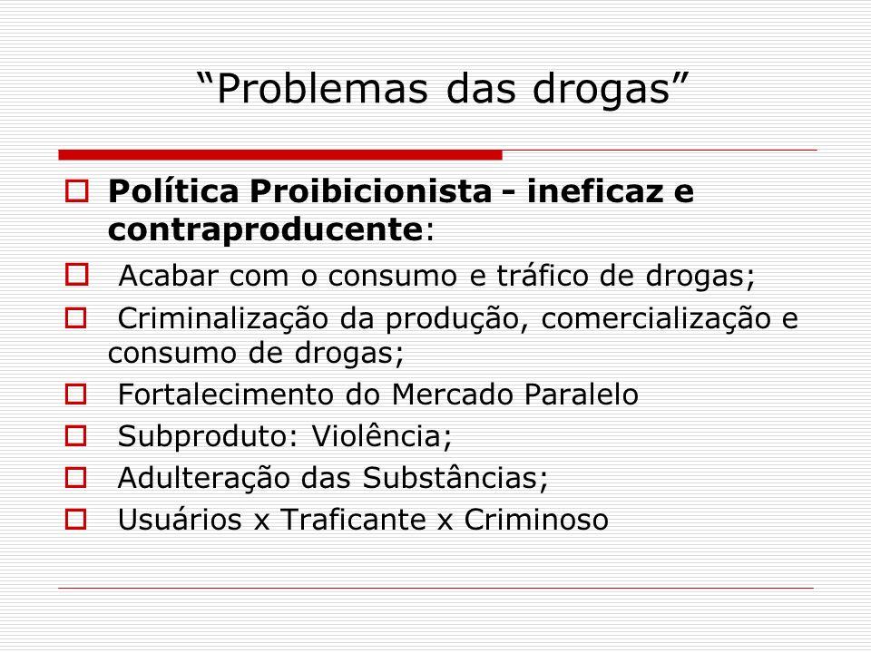 Problemas das drogas Política Proibicionista - ineficaz e contraproducente: Acabar com o consumo e tráfico de drogas; Criminalização da produção, come