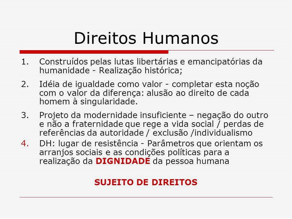 Direitos Humanos 1.Construídos pelas lutas libertárias e emancipatórias da humanidade - Realização histórica; 2.Idéia de igualdade como valor - comple
