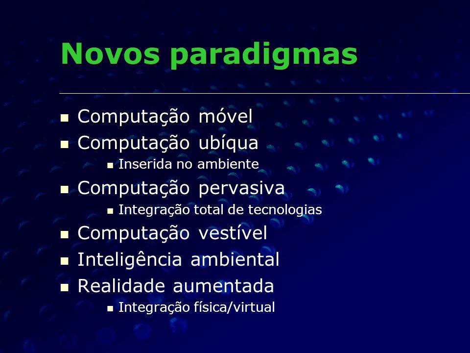 Novos paradigmas Computação móvel Computação móvel Computação ubíqua Computação ubíqua Inserida no ambiente Computação pervasiva Integração total de t