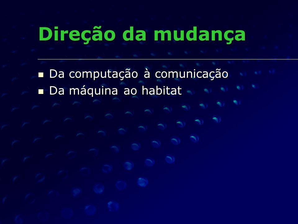 Direção da mudança Da computação à comunicação Da computação à comunicação Da máquina ao habitat Da máquina ao habitat