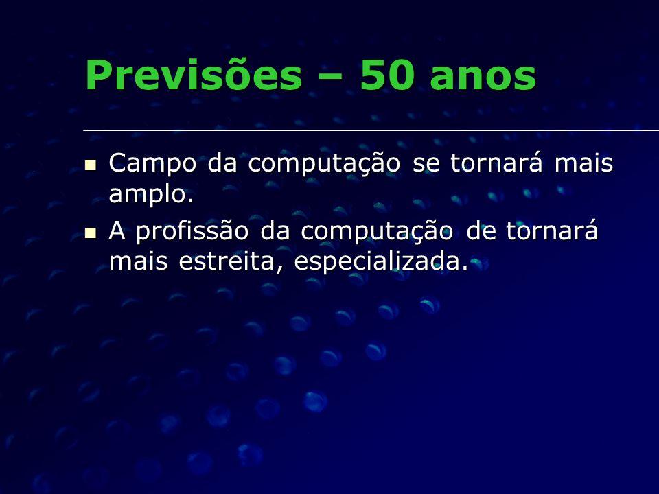 Previsões – 50 anos Campo da computação se tornará mais amplo. Campo da computação se tornará mais amplo. A profissão da computação de tornará mais es
