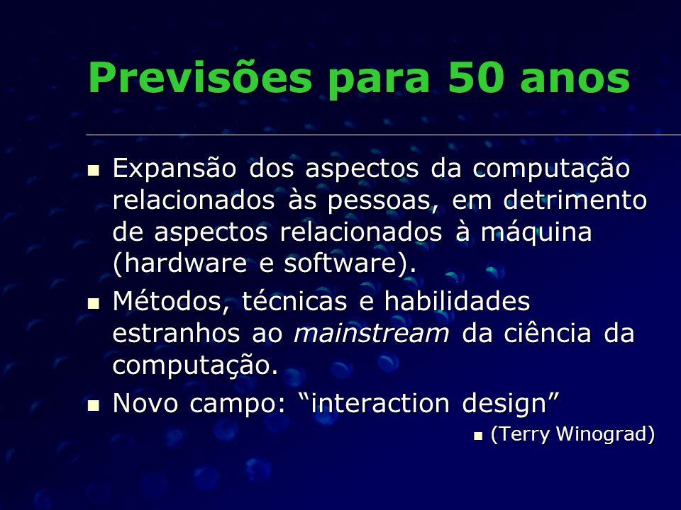 Previsões para 50 anos Expansão dos aspectos da computação relacionados às pessoas, em detrimento de aspectos relacionados à máquina (hardware e softw
