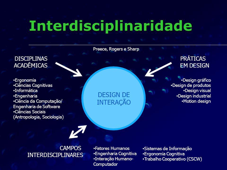 Interdisciplinaridade Preece, Rogers e Sharp DESIGN DE INTERAÇÃO CAMPOS INTERDISCIPLINARES PRÁTICAS EM DESIGN DISCIPLINAS ACADÊMICAS Ergonomia Ciência