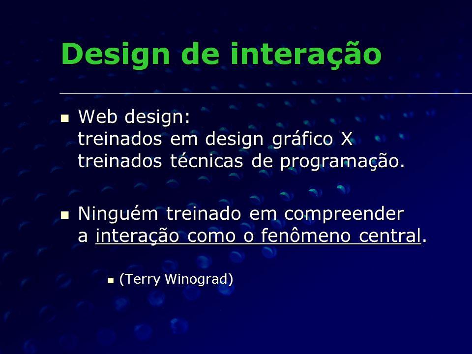 Design de interação Web design: treinados em design gráfico X treinados técnicas de programação. Web design: treinados em design gráfico X treinados t