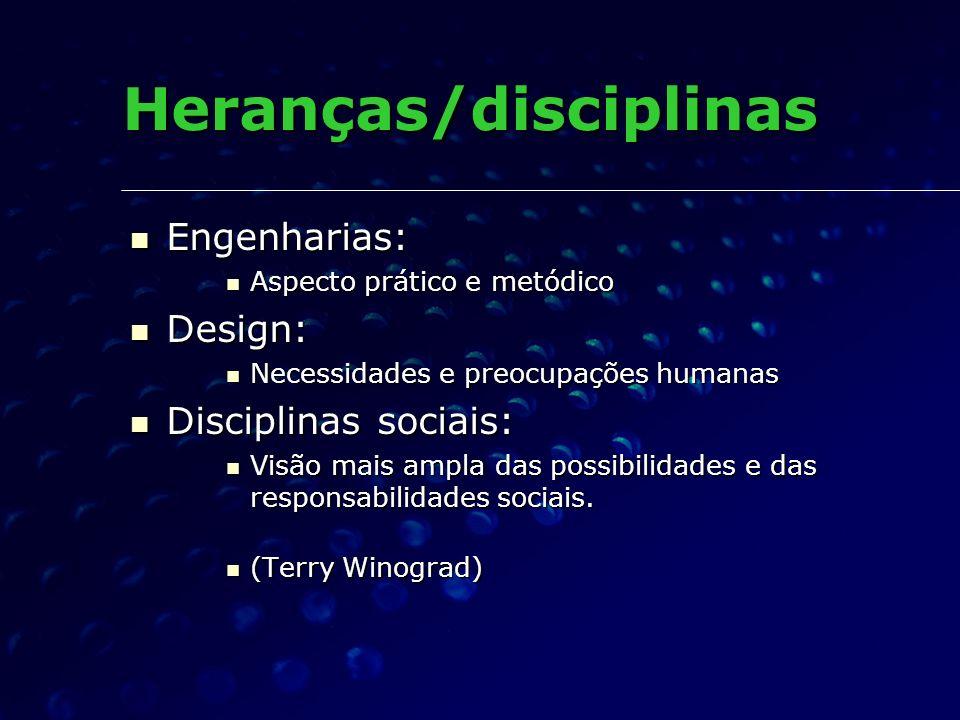 Heranças/disciplinas Engenharias: Engenharias: Aspecto prático e metódico Aspecto prático e metódico Design: Design: Necessidades e preocupações human