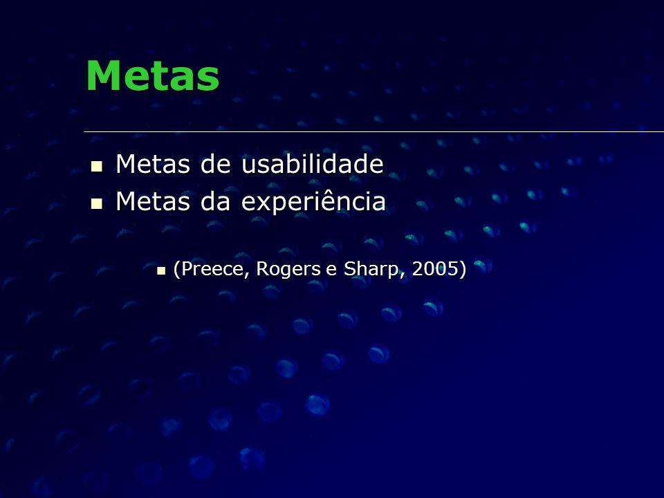 Metas Metas de usabilidade Metas de usabilidade Metas da experiência Metas da experiência (Preece, Rogers e Sharp, 2005) (Preece, Rogers e Sharp, 2005