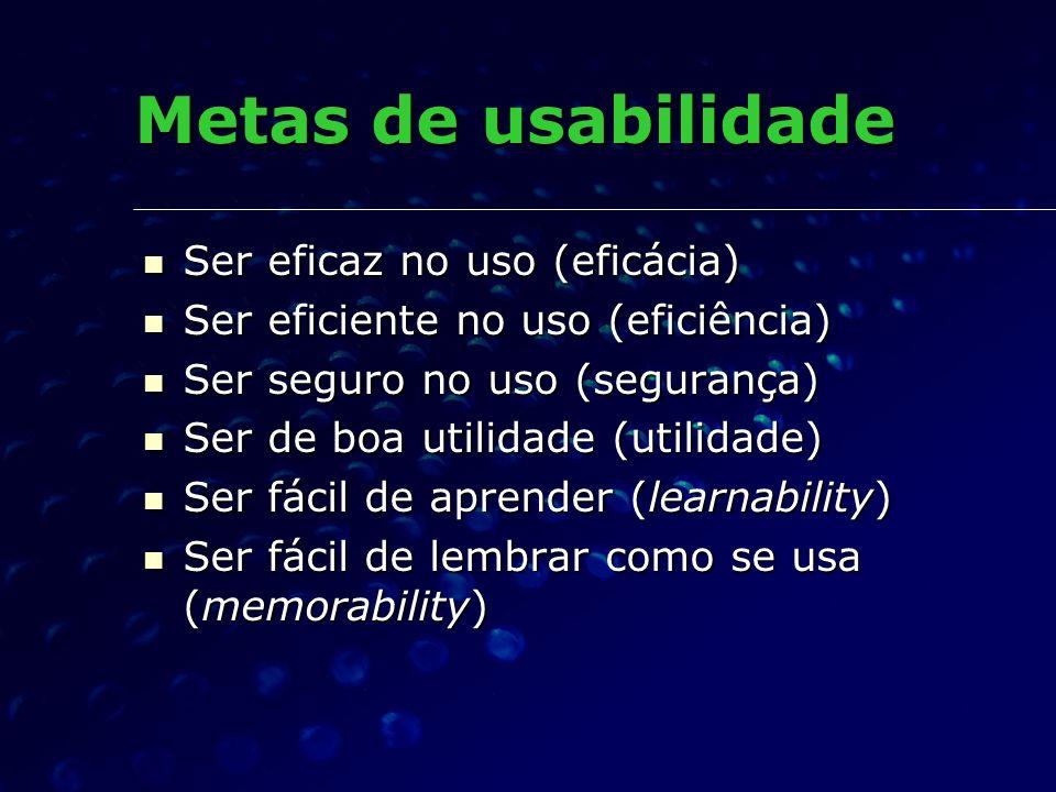 Metas de usabilidade Ser eficaz no uso (eficácia) Ser eficaz no uso (eficácia) Ser eficiente no uso (eficiência) Ser eficiente no uso (eficiência) Ser