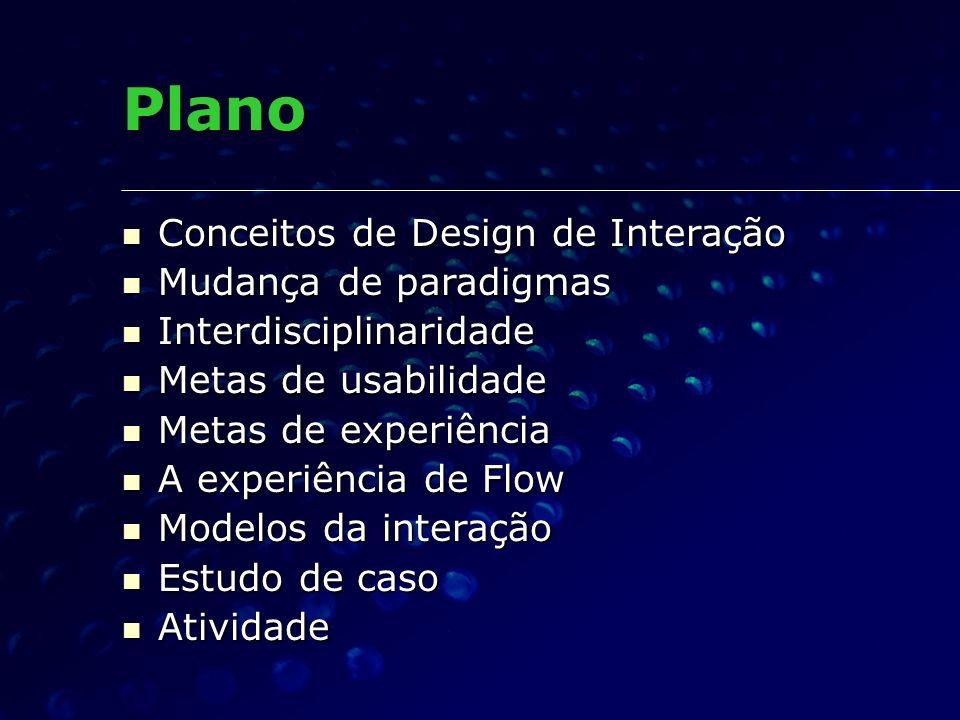 Plano Conceitos de Design de Interação Conceitos de Design de Interação Mudança de paradigmas Mudança de paradigmas Interdisciplinaridade Interdiscipl