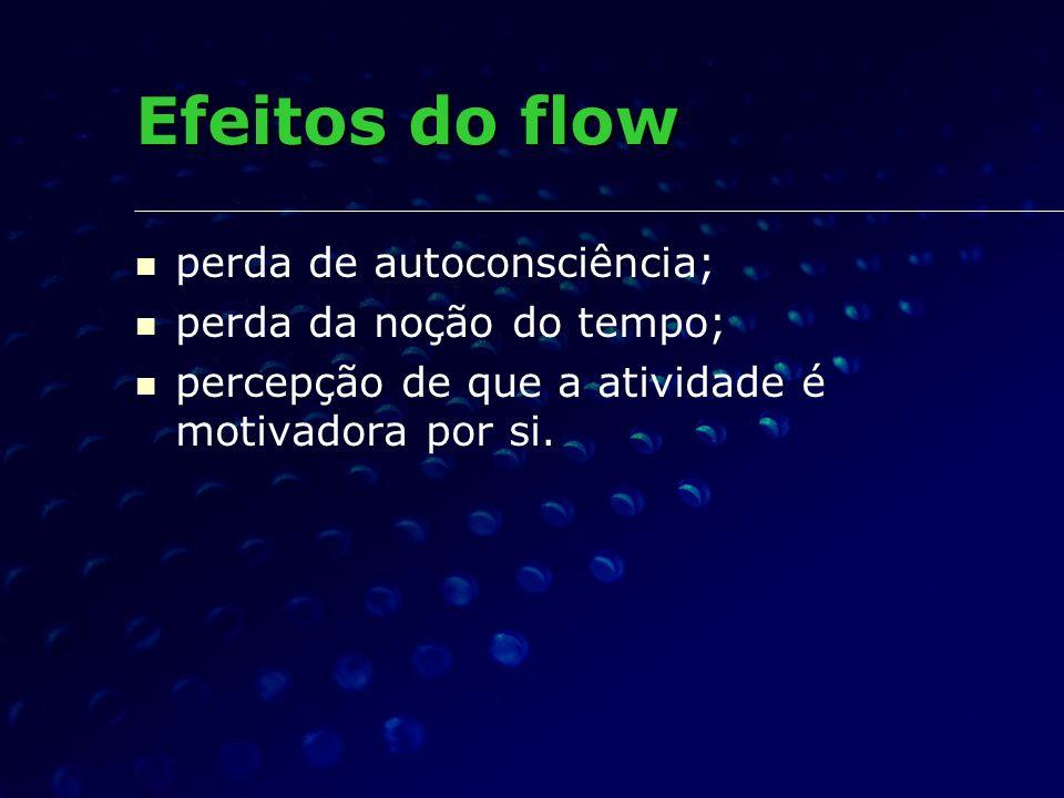 perda de autoconsciência; perda da noção do tempo; percepção de que a atividade é motivadora por si. Efeitos do flow