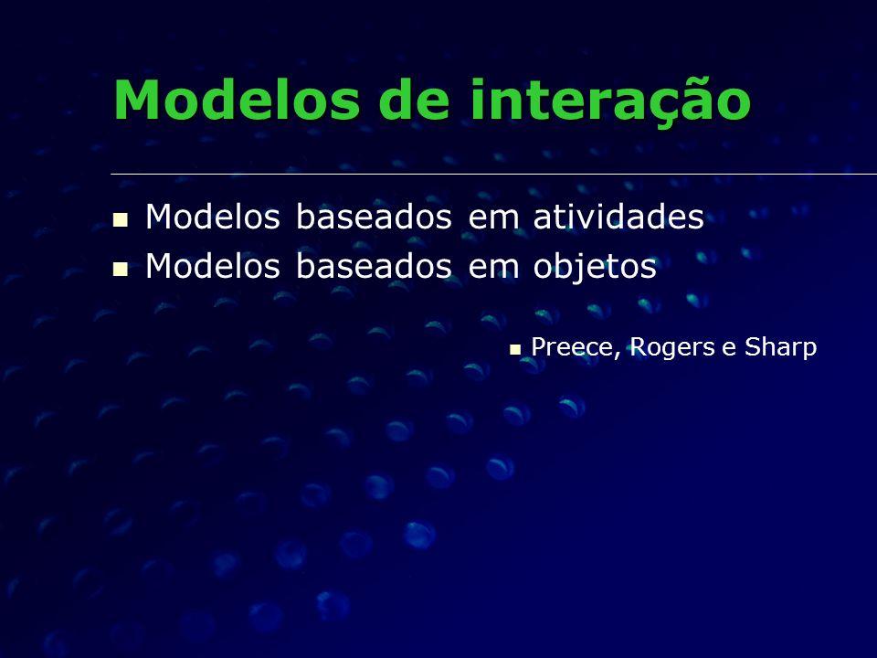 Modelos baseados em atividades Modelos baseados em objetos Preece, Rogers e Sharp Modelos de interação