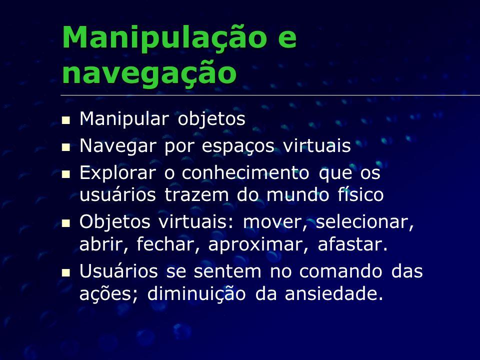 Manipular objetos Navegar por espaços virtuais Explorar o conhecimento que os usuários trazem do mundo físico Objetos virtuais: mover, selecionar, abr