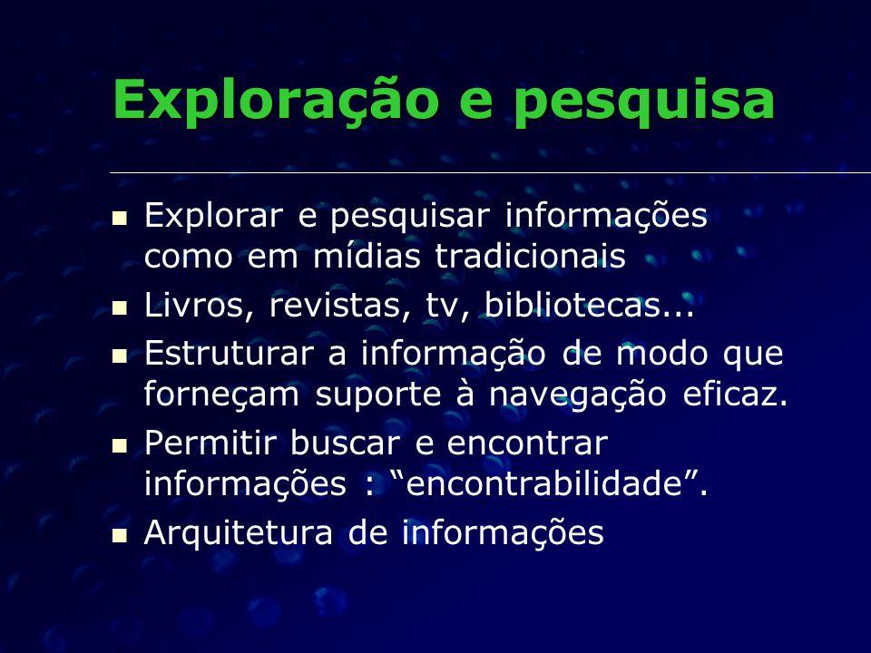 Explorar e pesquisar informações como em mídias tradicionais Livros, revistas, tv, bibliotecas... Estruturar a informação de modo que forneçam suporte